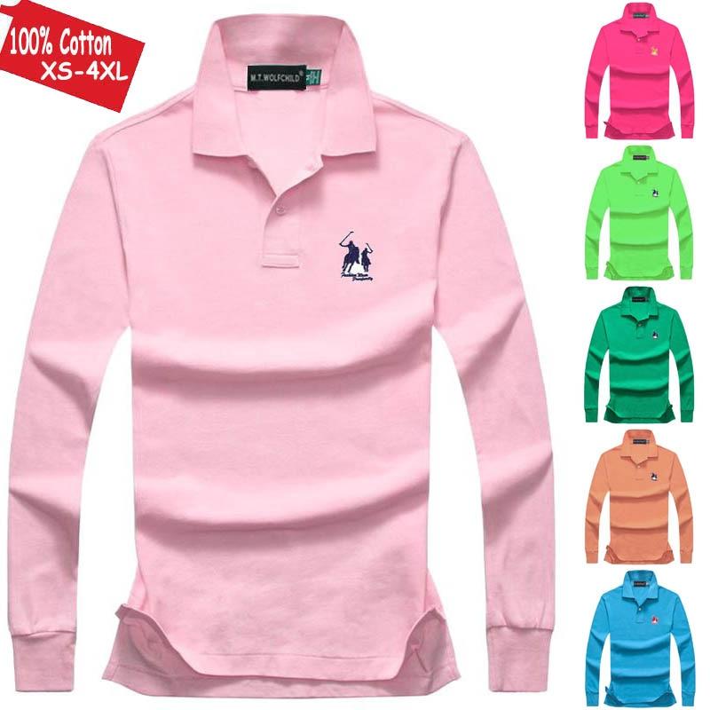 Good Quality 2019 Autumn Men's Polos Shirts Long Sleeve 100% Cotton Casual Mens Big Horse Polos Shirts Fashion Mens Tops XS-4XL