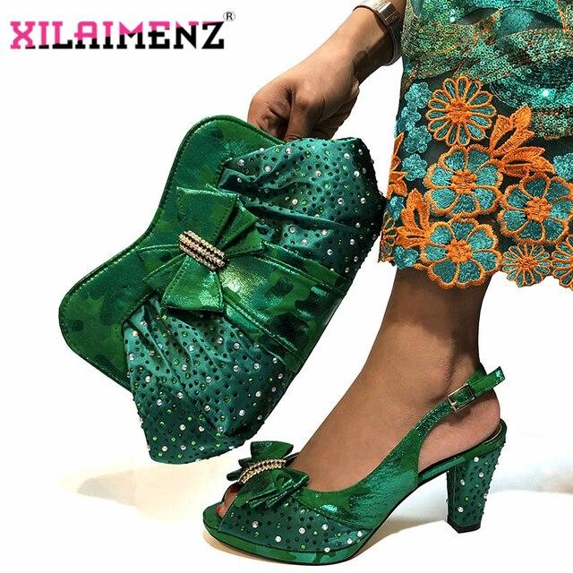 높은 품질 2019 아프리카 신발 및 가방 파티에 대 한 설정 이탈리아 여성 결혼식 일치하는 신발 및 가방 녹색 색상으로 일치