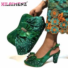 High Quality 2019 African Shoes and Bag Set for Party Italian Women Wedding Matching Shoes and Bag to Match in Green Color