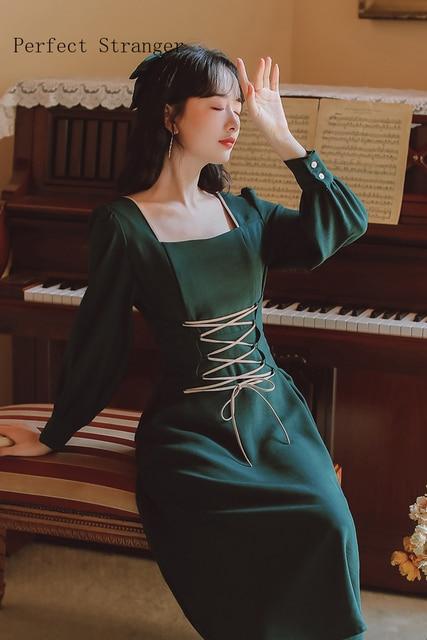2020 Autumn New Arrival High Quality Retro Square Collar Bandage Long Sleeve Women Long Dress 6