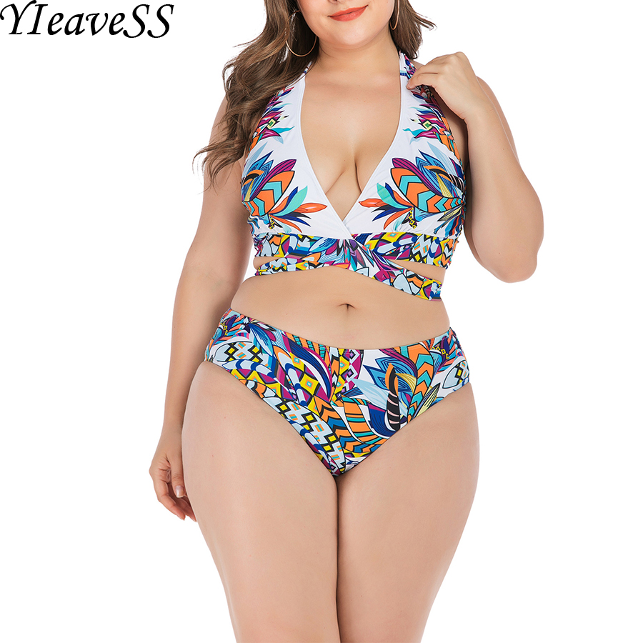Plus Size Tankini Set L-4XL 2020 New High Waist Brief Bikini Set Push Up Halter Padded With Wire Leopard Swimsuits