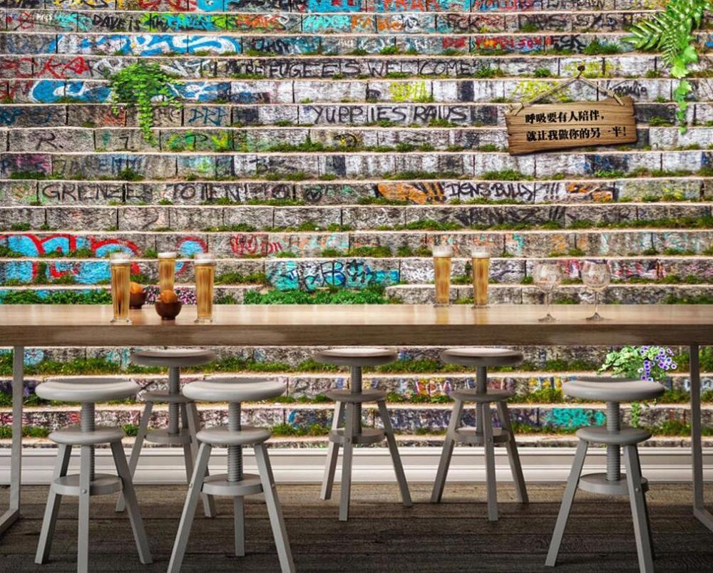 Custom Mural Wallpaper 3D Creative Retro Brick Wall Plant Graffiti Wall Board Tag Bar Background Decorative Painting