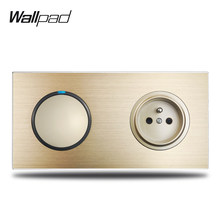 Wallpad L6 Oro 1 interruptor de la luz de indicador LED azul francés eléctrico Salida de enchufe de pared de metal de alumino bruñido Panel(China)