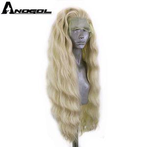 Image 2 - ANOGOL platine Blonde 613 cuivre rose synthétique dentelle avant perruque avec bébé cheveux longue vague deau haute température Futura Fiber perruque