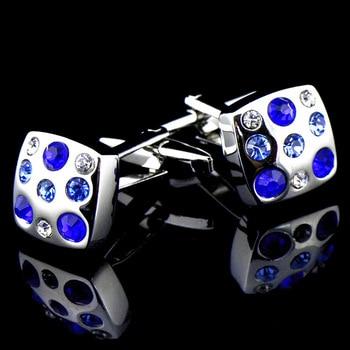Royal blue/ Skye Blue High Grade Simple Crystal Cuff Links 4