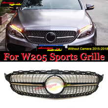 W205 Diamond Grille Without emblem ABS Silver For C-Class C180 C200 C250 C350 C400 C450 Sports Front Grill grille 2015-2018