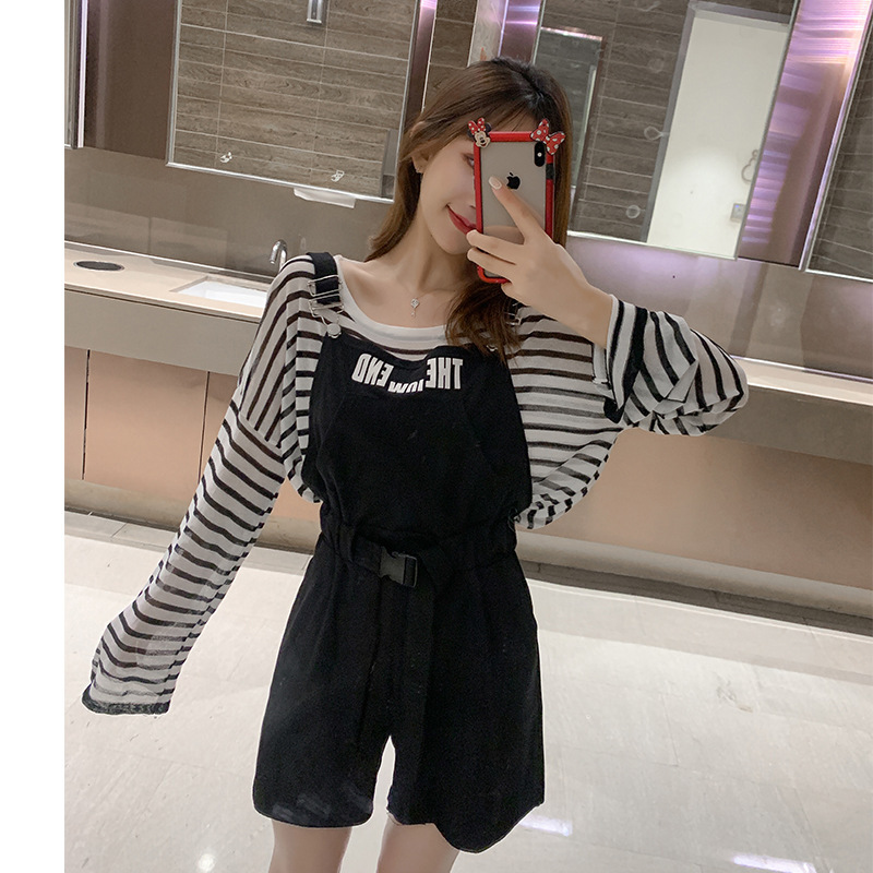 Customizable Two-Piece 2019 Summer New Style Korean-style Slimming Striped Shirt + High-waisted Suspender Pants WOMEN'S Suit F74