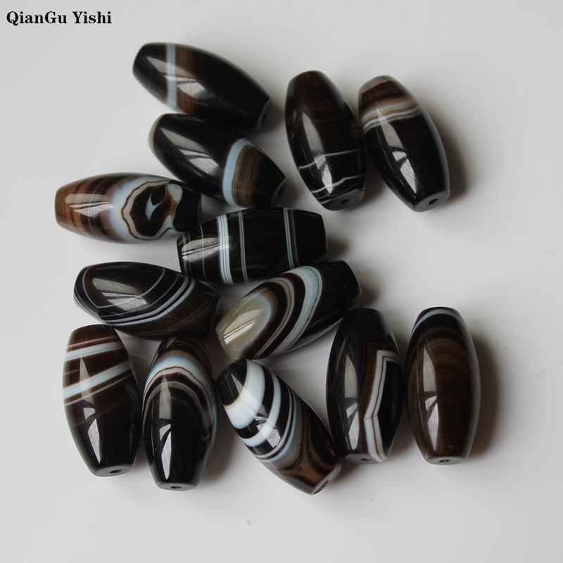 Fine 100% Natural Black Coffee Stripes Agate Stone Beads Onyx Beads 15*29MM For Jewelry Making DIY Bracelet Necklace