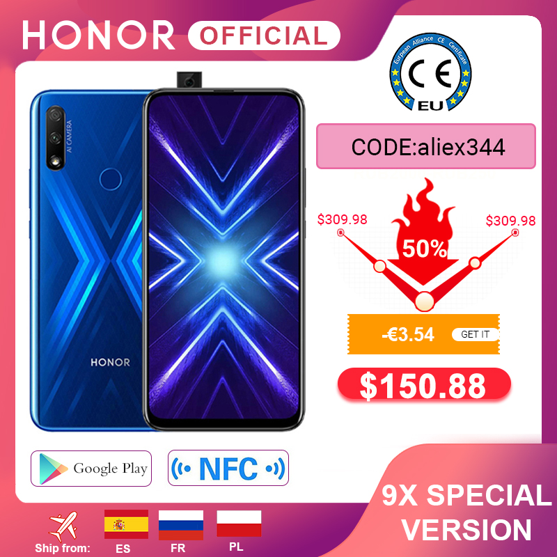 - 3.54€  Code: aliex344 Móvil Honor 9X, versión especial, 4G128G, cámara Dual de 48MP, pantalla de 6,59 pulgadas, so Android 9, batería de 4000mAh, OTA, Google Play