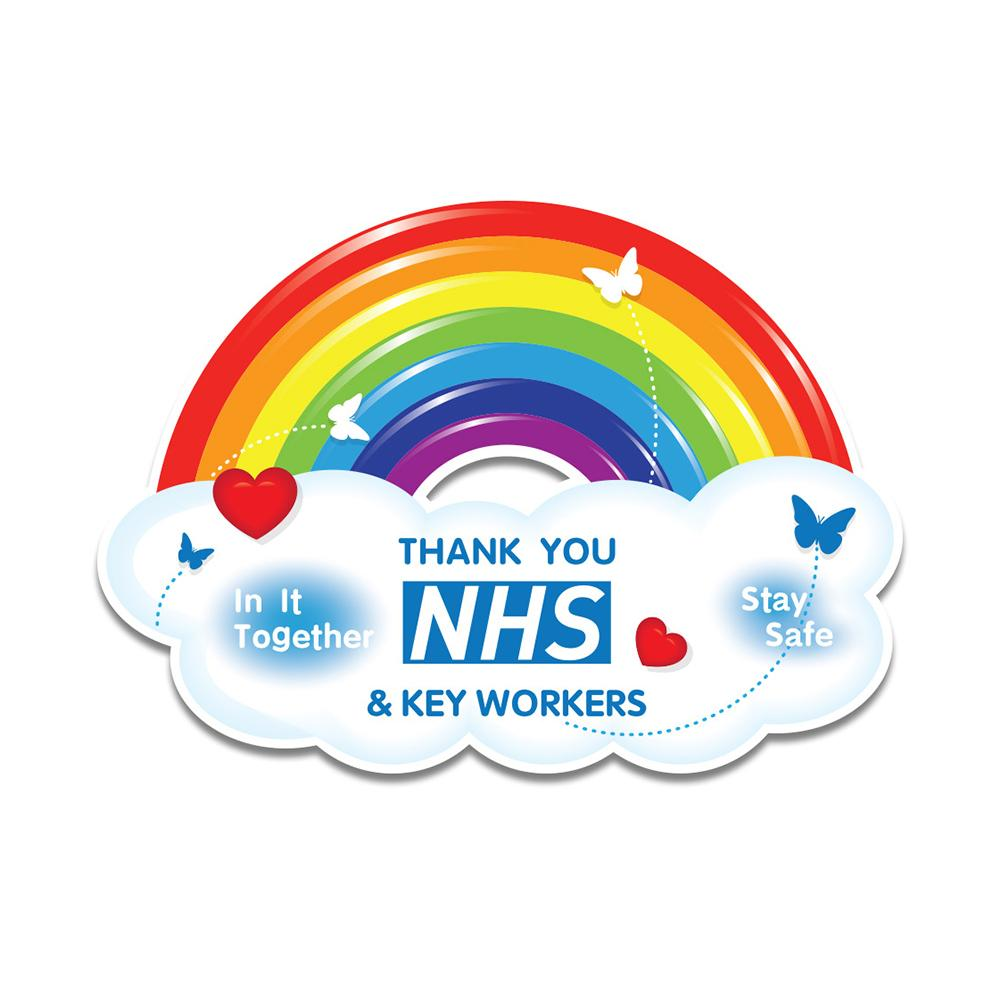 Influent UK Thank You NHS And Key Workers Self-Adhesive Vinyl Sticker Outside Of Windows Door Wall Joeesun Car Stickers Waterproof Rainbow 15 * 7.7cm//Color 4 Pieces