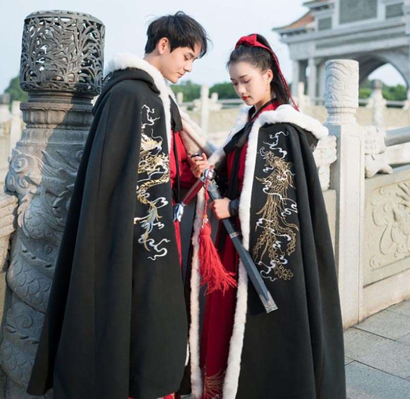 Men&Women Hanfu Cloak Chinese Ancient Traditional Winter Black Red Hooded Cape Adult New Year Costume For Couples Plus Size