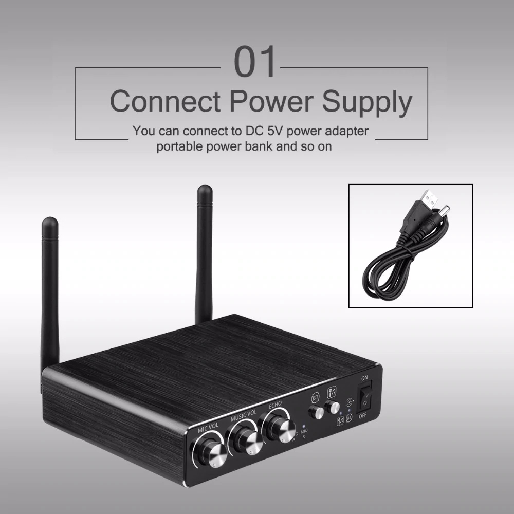 Excelvan Micro K28 Wireless Dual Channel Microphone Adjustable Echo Volume Digital Low Distortion For Home Entertainment Conference (5)