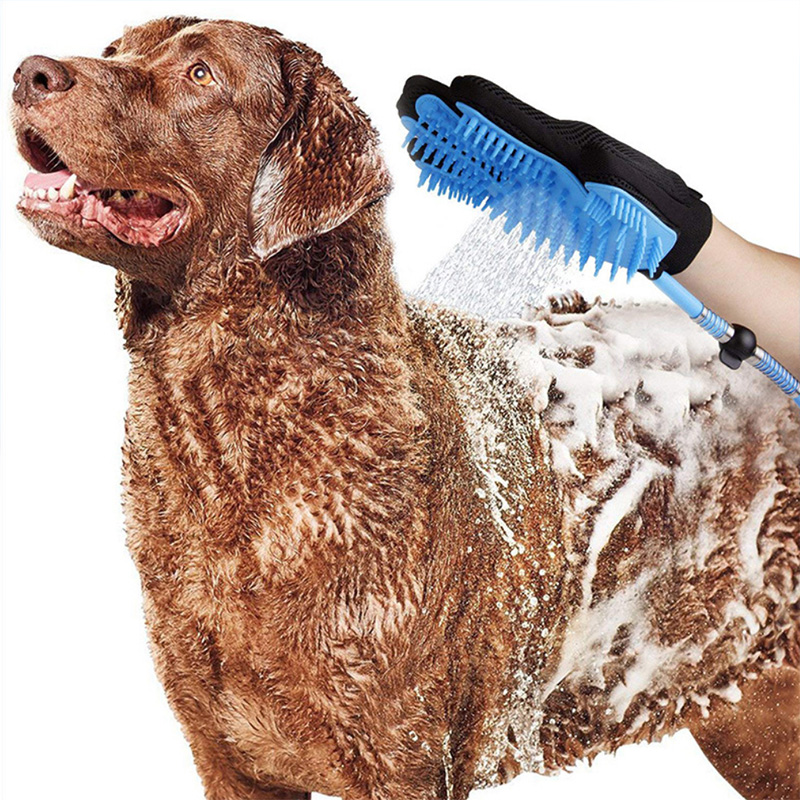 New Portable Pet Dog Bathing Glove Dog Shower Massage Grooming Brush Sprayer with Water Hose for