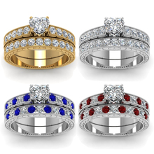 Charm Women Ring Set Fashion Heart Shape Rhinestone Zircon R