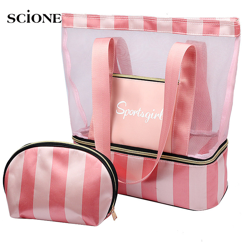 Women Swimming Bag Mesh Bags Handbags Wet Dry  Bags Net Tas Pool Beach Pouch Sack Sac De Sport Striped Clear Transparent XA387WA