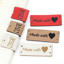 20/50Pcs PU Leather Tags Handmade With Love Labels Sewing Craft Hand Made Tags For Clothes Bags Shoes Knitting Tags Lables 5x2CM