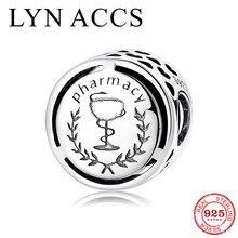 Novo 925 prata esterlina carreira bem sucedida farmácia símbolo contas caber original lynaccs encantos pulseiras fazer jóias