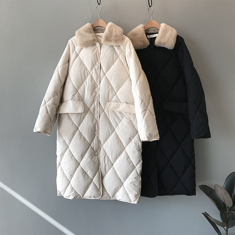 Han edition of new fund of 2020 autumn winters in long cotton padded clothes 071 female collars lozenge grain loose cotton feath|Parkas| - AliExpress