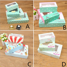 30pcs/lot Small Paper Box For Cupcake With Clear windows Wedding Party Kids Birthday Gift Packaging Food Baking Cake