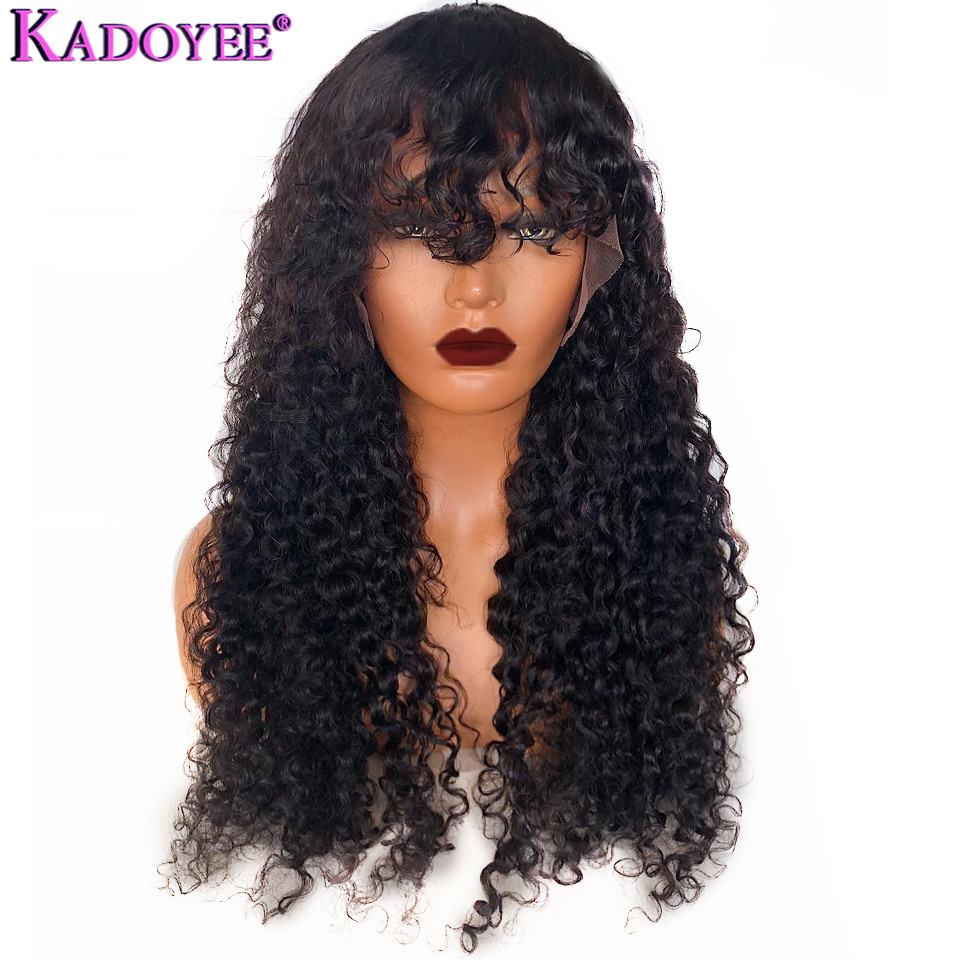 Deep Curly Lace Front Human Hair Wigs Brazilian Remy Hair 13x4 Front Lace Wig With Bangs Pre Plucked Bleached Knots For Women
