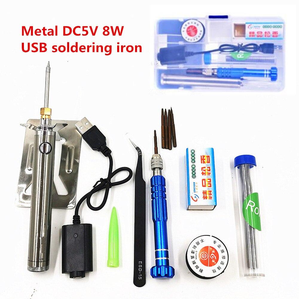 5V 8W soldador USB Estación de soldadura de carga inalámbrica Mini batería portátil soldador de hierro con herramientas de soldadura USB