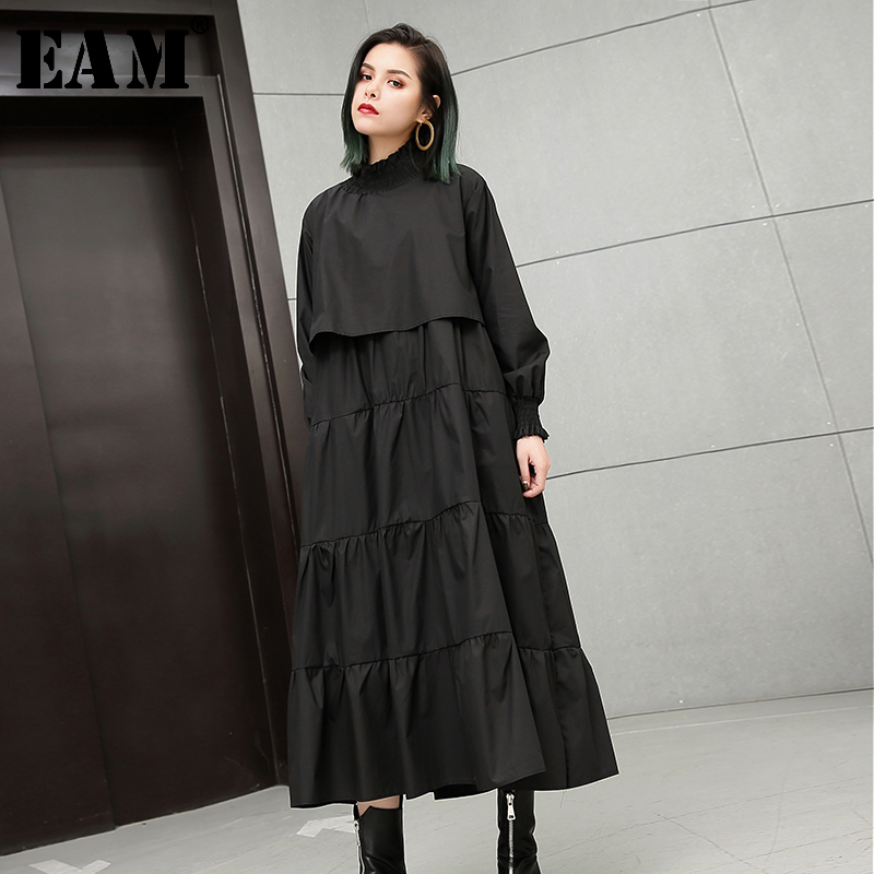 [EAM] Women Black Pleated Stitch Cake Dress New Stand Collar Long Sleeve Loose Fit Fashion Tide Spring Autumn 2020 JH131