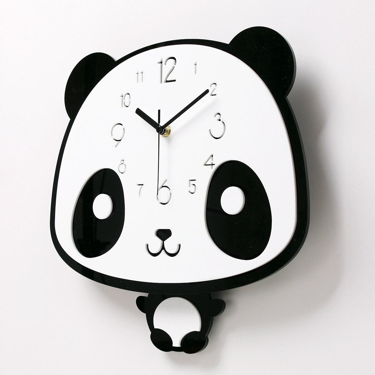 Dessin animé Panda horloge murale belle montre chambre silencieuse chambre d'enfants horloge murale Swing moderne Simple mode horloges créatives Zb10