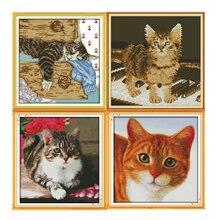 Наборы для вышивки крестиком различных кошек dmc 11ct 14ct рисунок