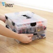 BNBS ليغو كتل المنظم صندوق تخزين لعبة الحاويات صنبور بلاستيكي مجموعة صناديق للأدوات انفصال عالية السعة تخزين البنود