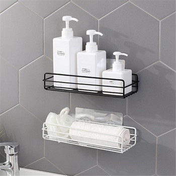 Bathroom Shelf Rectangle Wall Mounted Metal Shelf Storage Rack Stainless Steel Holder Kitchen Bathroom Accessories 2016 top fashion real shelves for bathroom toothbrush holder stainless steel bathroom shelf wall mounted storage rack 50cm kf175