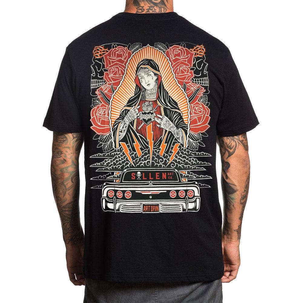 Sullen Men'S Hopeleshort Sleeve T Shirt Black Virgin Mary Tattooed Clothing Appa T Shirts 033538(China)