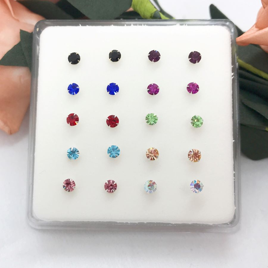 fashion jewelry nose studs Pack of  20pcs 925 sterling silver big size 3mm crystal white /multi color nose pin-2