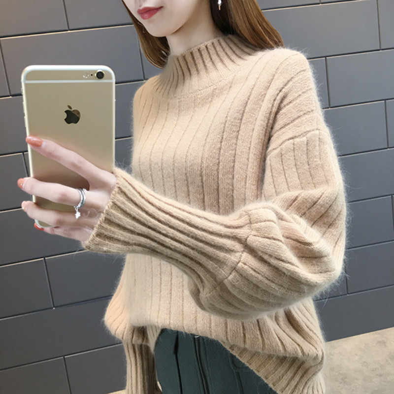 Sweater Wanita 2019 Gugur Musim Dingin Lentera Lengan Ruched Setengah Turtleneck Rajutan Pullover Jumper Tarik Femme Hiver