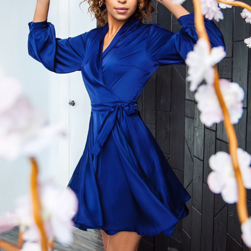 Women Vintage Sashes Satin Elegant A-line Party Dress Long Sleeve Sexy V Neck Solid Casual Mini Dress 2019 Autumn Fashion Dress