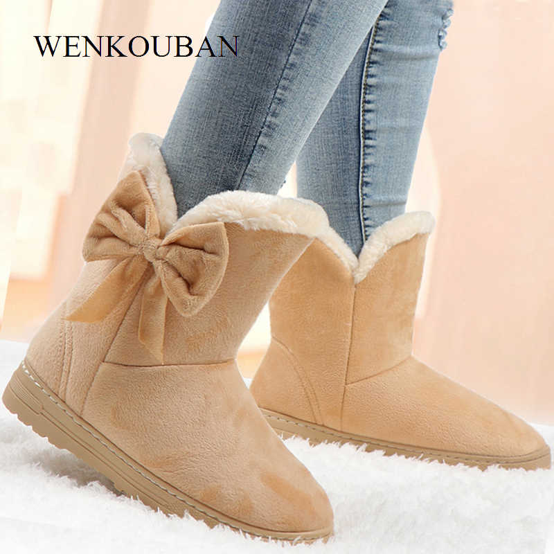 Ankle Boots Women Winter Warm Snow Boots Female Bowtie Platform Boots Ladies Slip On Shoes Solid Butterfly Botas Feminina 2020