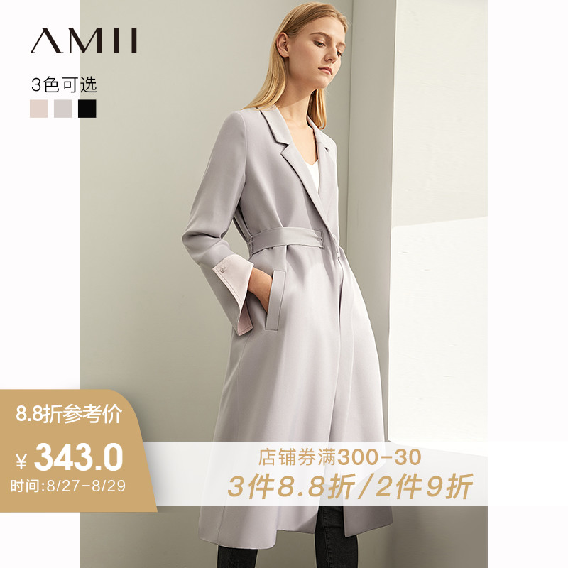 [winter Sale For Festival]Amii  Euro-American Windshield Female Autumn 2009 New Cuff Opening Mid-long Waist-Receiving Slim Coat