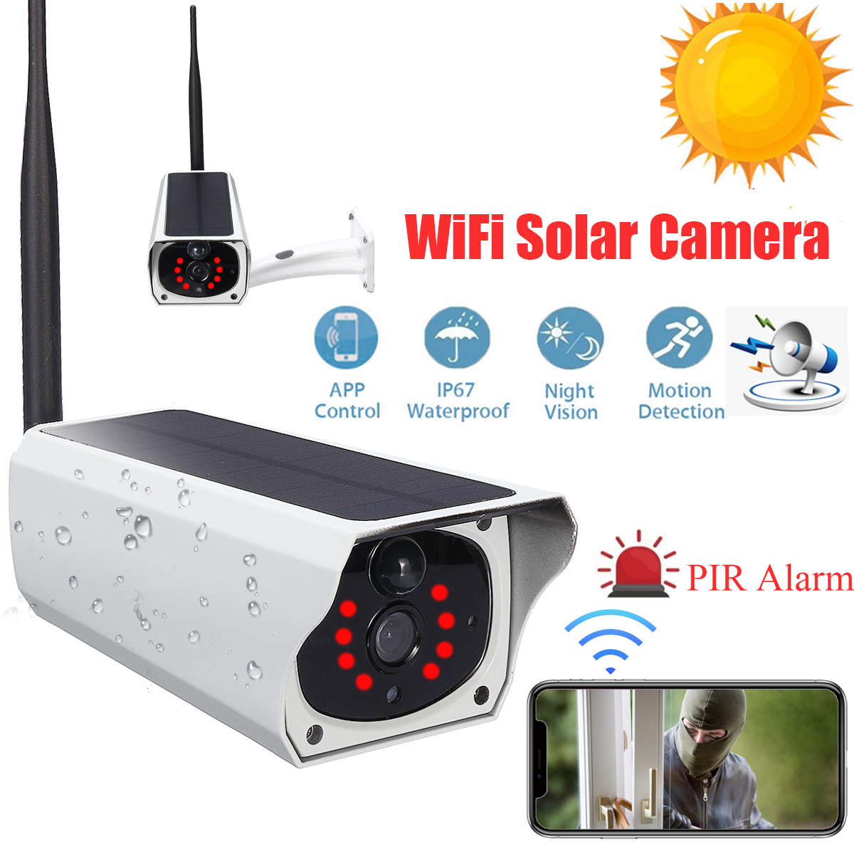 1080P HD Wifi Wireless IP Camera Home Security Surveillance Waterproof Outdoor Solar Camera IR Night Vision Two Way Audio Cam