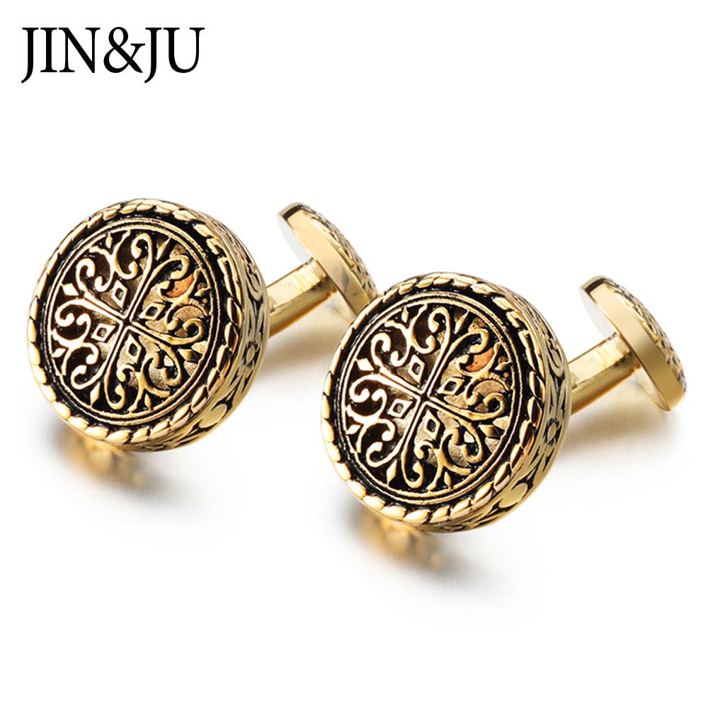 JIN&JU Gold Color Vintage Cufflinks For Mens Wedding Cuff Links Luxury Jewelry Spinki Do Mankietów Gemelos Para Hombre Camisa