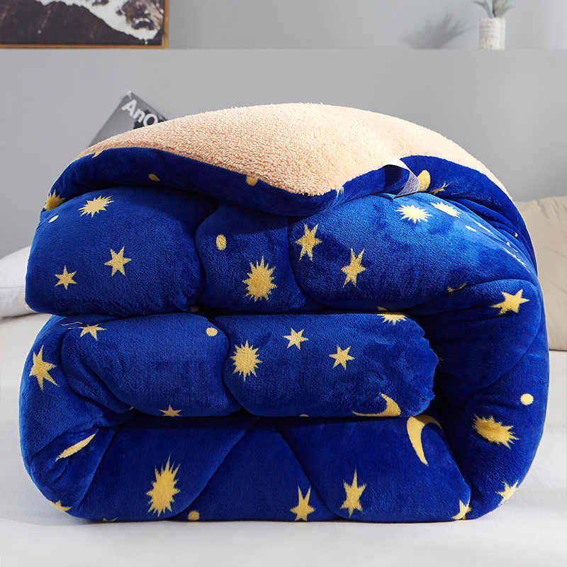 Autumn and winter quilt thicken flannel comforter star strip grid blanket lamb down duvet fabric filling bedding set