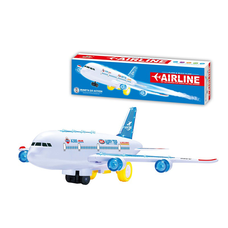 Airbus A380 Electric Universal Light Airplane Children Stall Electric Model Plane Toy Wholesale