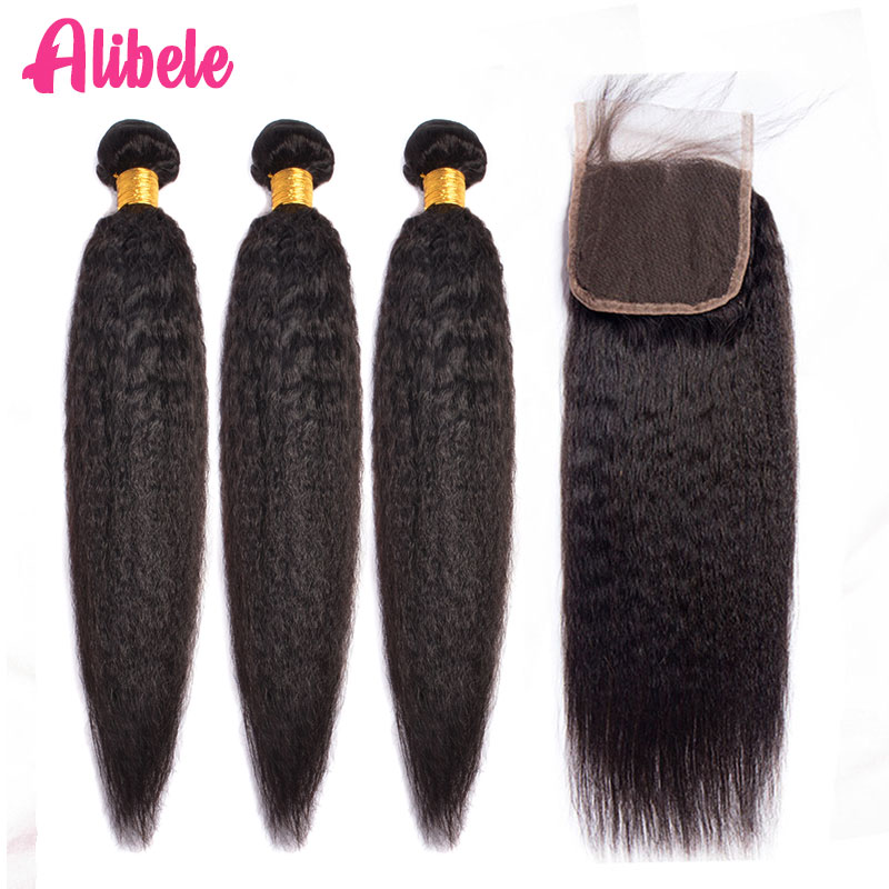 ALIBELE HAIR Kinky Straight Human Hair Bundles With Closure Non Remy Brazilian Hair Weave Bundles With Lace Closure 4 5 Pcs Lot