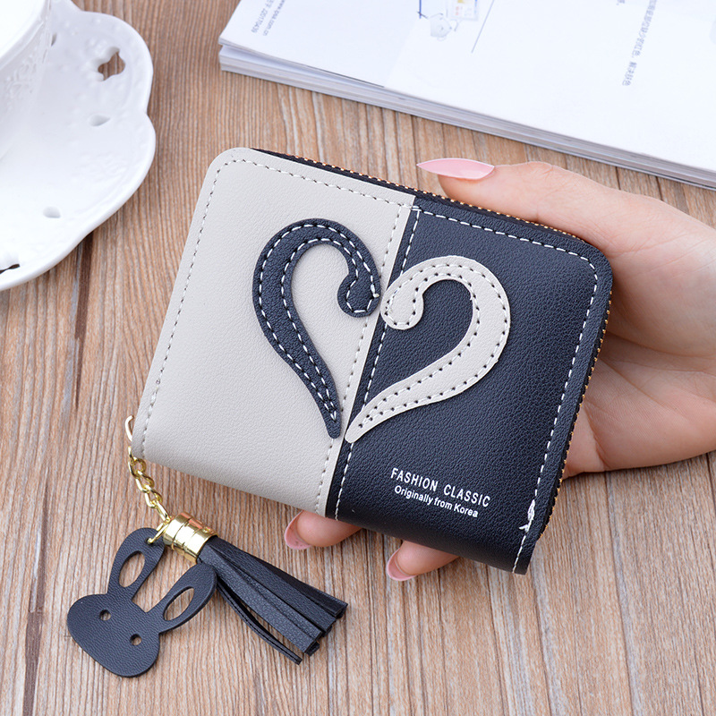 New Tassel Leather Wallet Women Small Coin Purse Card Holder Mini Wallets Female Luxury Short Coin Zipper Purse Cartera Mujer