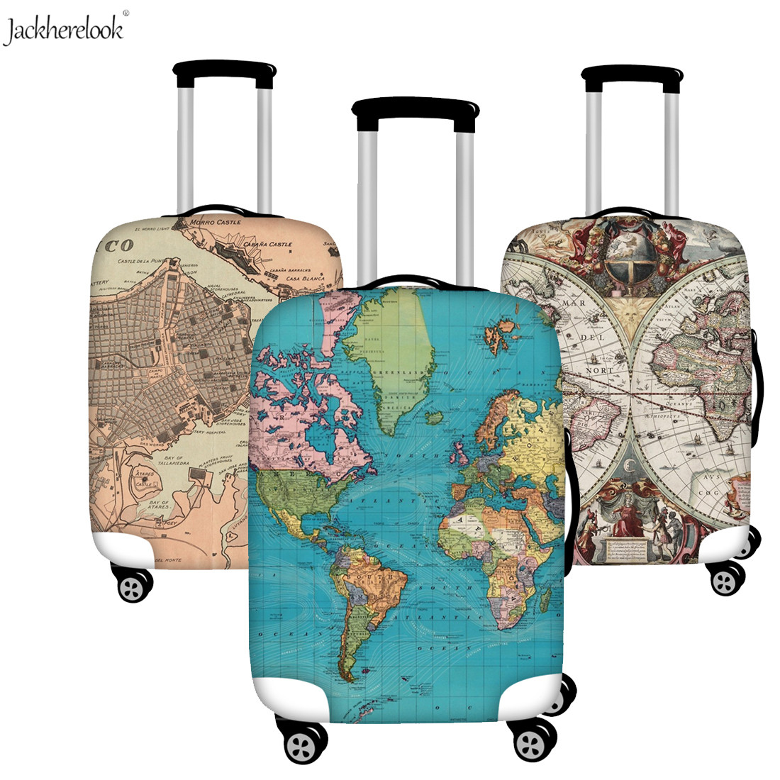 Jackherelook 3D World Map Printed Suitcase Cover Travel On Road Protect Case Travel Accessories Vintage Map Luggage/baggage Case