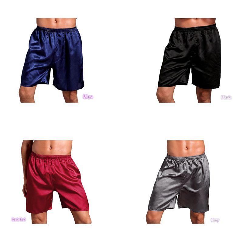 Mens Satin Pajamas Boxer Shorts Plain Solid Color Sleepwear Underwear Loose Mid Rise Elastic Waist Lounge Beach Pants L-2XL