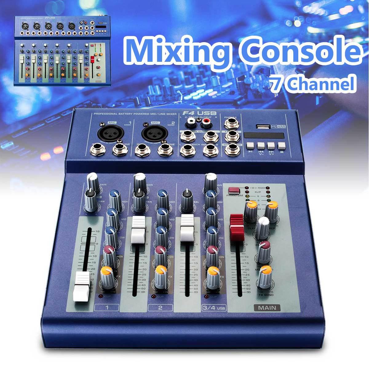 7 canaux Console de mixage USB Portable Audio mélangeur 220V karaoké amplificateur DJ son Console de mixage pour karaoké KTV Match Party