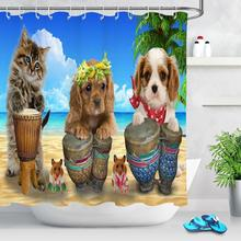 Funny Animals Shower Curtain Home Decoration Cat and Dog Bath Shower Curtain Polyester Fabric Bathroom Shower Curtain With Hooks hippo shadow water resistant fabric shower curtain