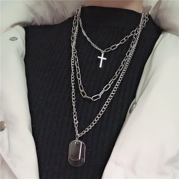 DIEZI Fashion Multilayer Silver Color Metal Chain Cross Necklace Couple Hip Hop Punk Geometric Pendant Necklaces for Women Men Accessories Jewellery & Watches Women's Fashion