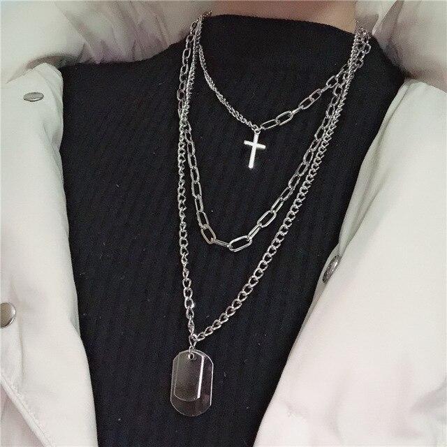 DIEZI Fashion Multilayer Silver Color Metal Chain Cross Necklace Couple Hip Hop Punk Geometric Pendant Necklaces for Women Men Accessories Jewellery & Watches Women's Fashion