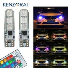2 pces w5w t10 rgb luz de afastamento novo carro universal rgb cob 6smd lâmpadas de carro com controle remoto acessórios do carro colorido