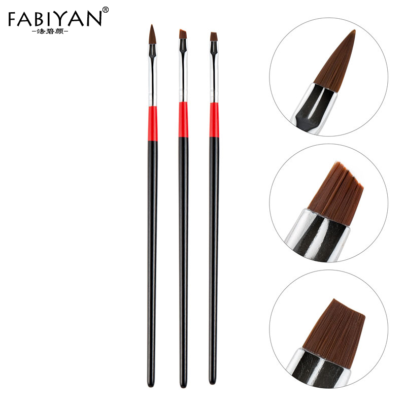 Top Quality 3Pcs Set Nail Art Brush Made With Wooden And Fiber Hair Material For Manicure Tool Set 2